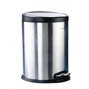 سطل پدالی متوسط استیل درب پلیمری مشکی آرام بند سام ست V