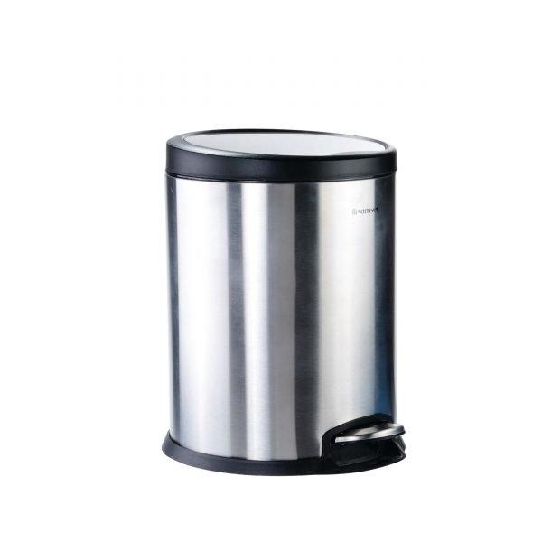 سطل پدالی کوچک استیل درب پلیمری مشکی آرام بند سام ست V