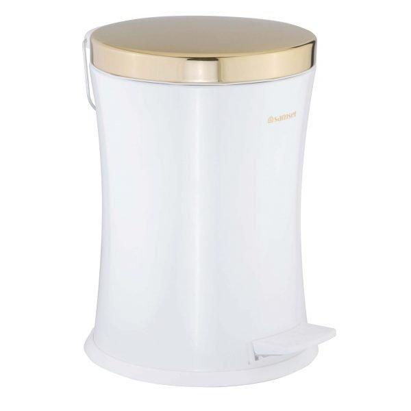 سطل زباله پدالی کمرباریک متوسط درب طلایی آرام بند سام ست