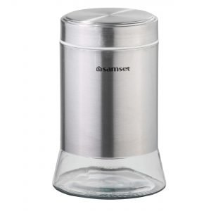 جاحبوباتی و قوطی حبوبات استیل کف شیشه ای بزرگ سام ست