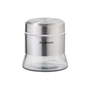جاحبوباتی و قوطی حبوبات استیل کف شیشه ای کوچک سام ست